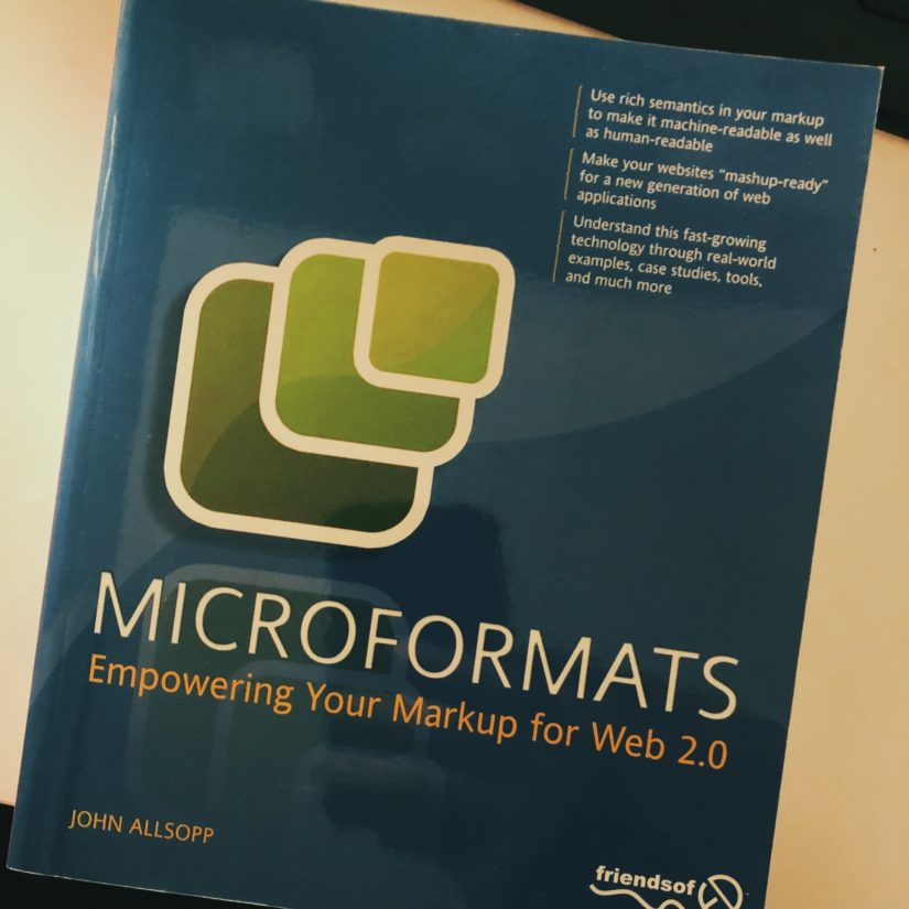 "Front cover of ""Microformats"" by John Alsopp"