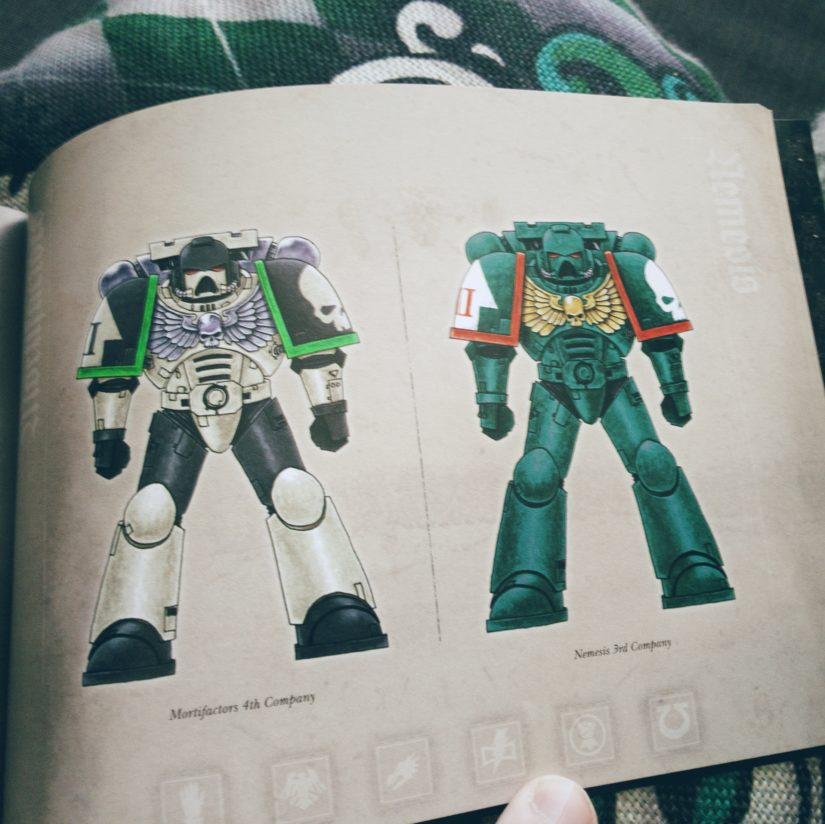 "Page from ""Successor Chapters"" booklet showing Mortifactor and Nemesis chapter colour schemes"