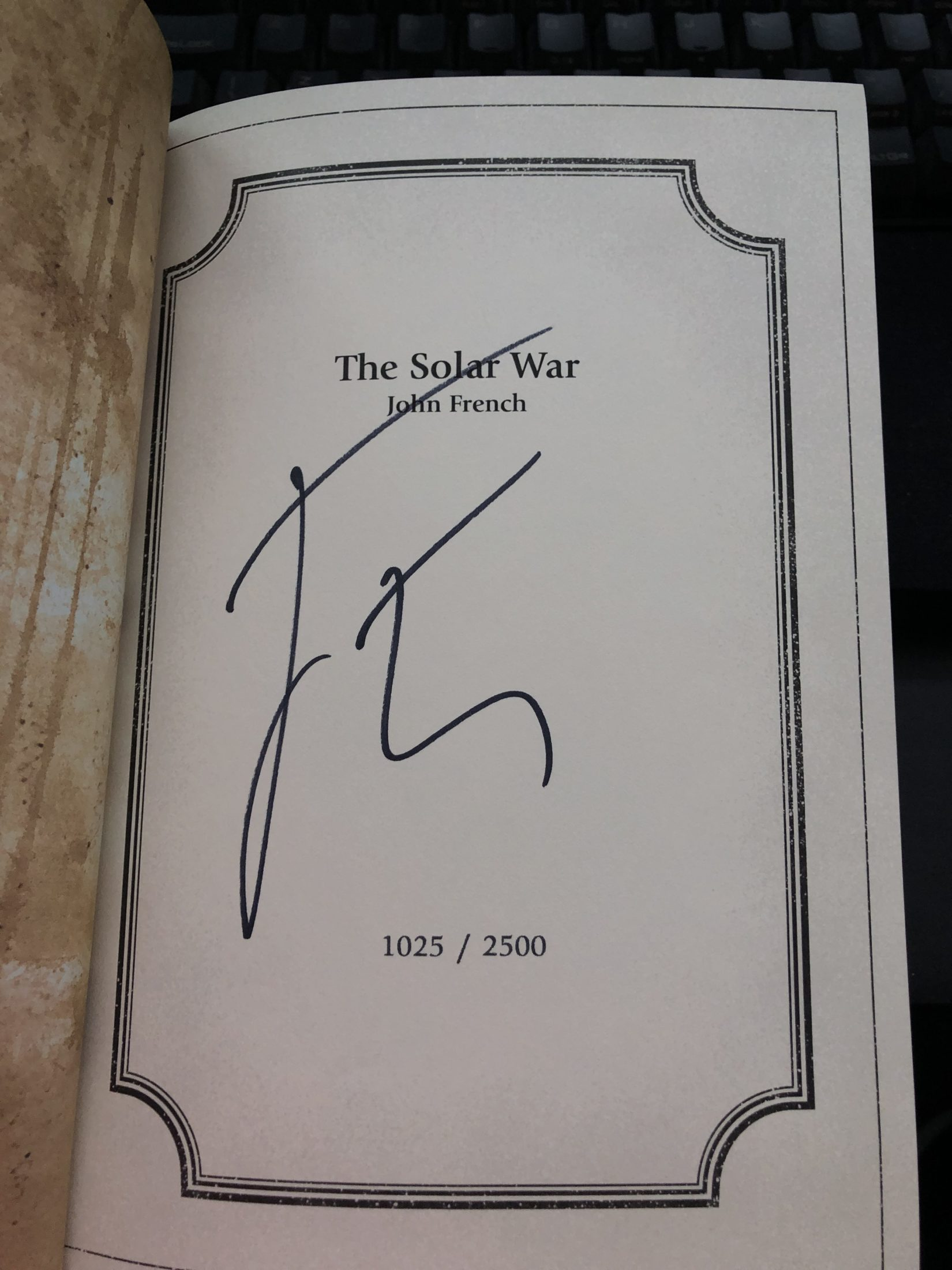 The Solar War limited editino numberinng and author's signature