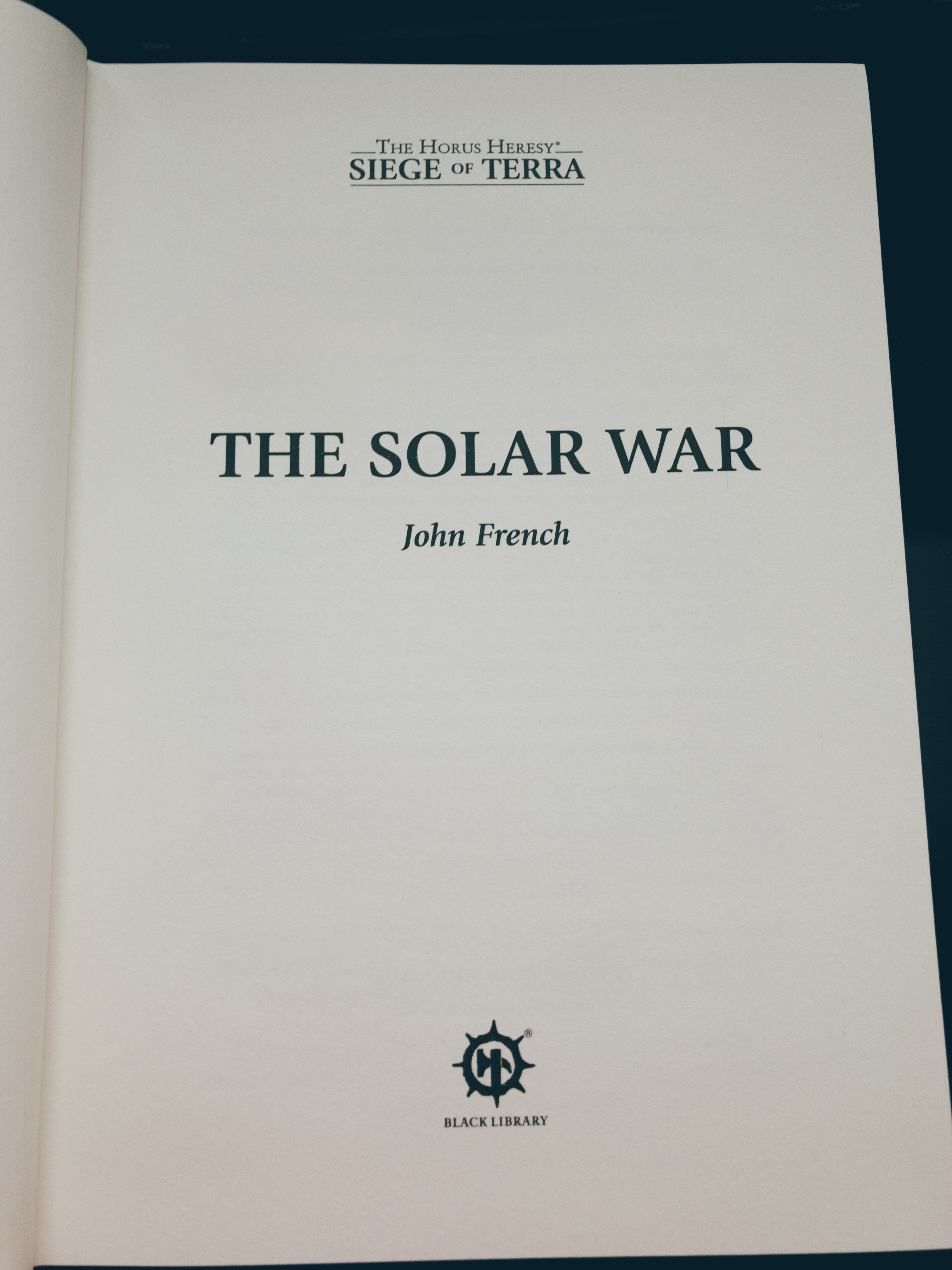 The Solar War internal title page
