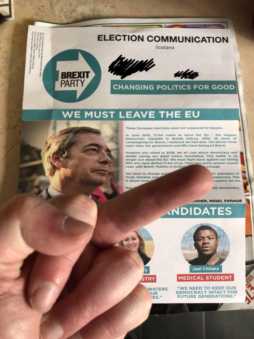 Brexit Party European Election leaflet