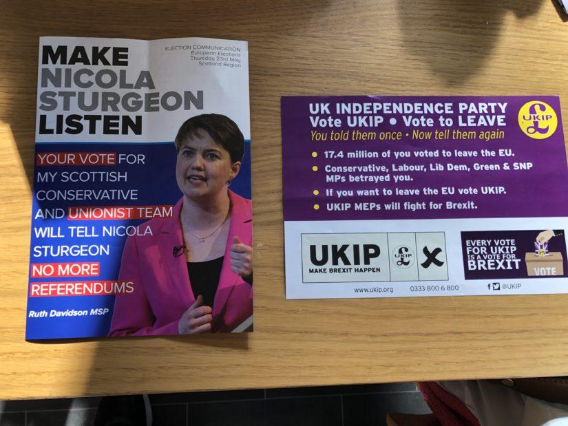 Scottish Conservative and UKIP European Election leaflets