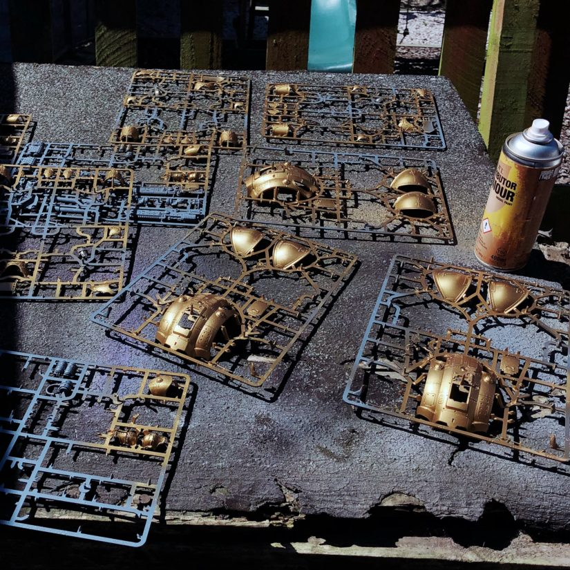 Imperial Knight sprues, sprayed with Retributor Armour gold paint