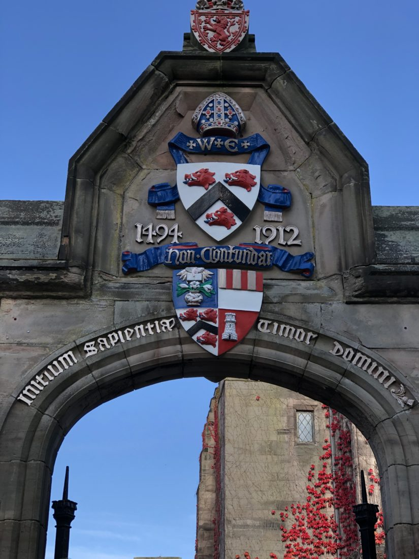 Archway at the university of Aberdeen, beating the university crest and logo